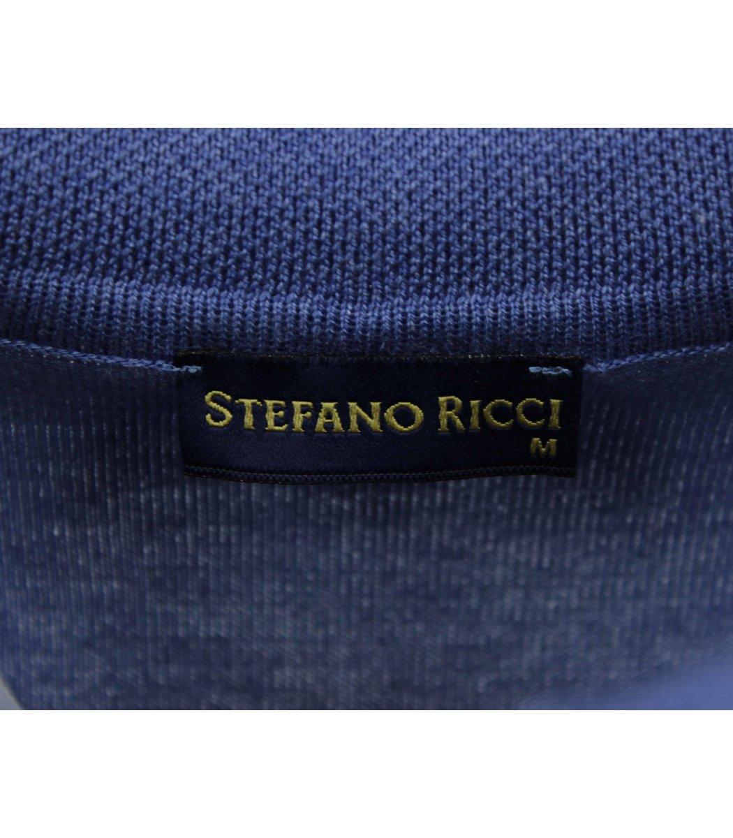 Голубое поло с длинным рукавом Stefano Ricci 7330