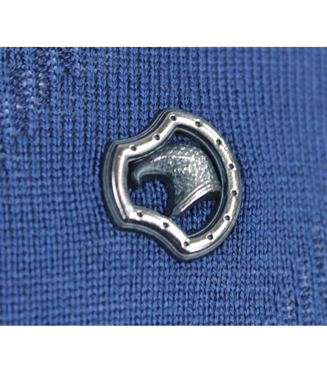 Синее поло с длинным рукавом Stefano Ricci 7330