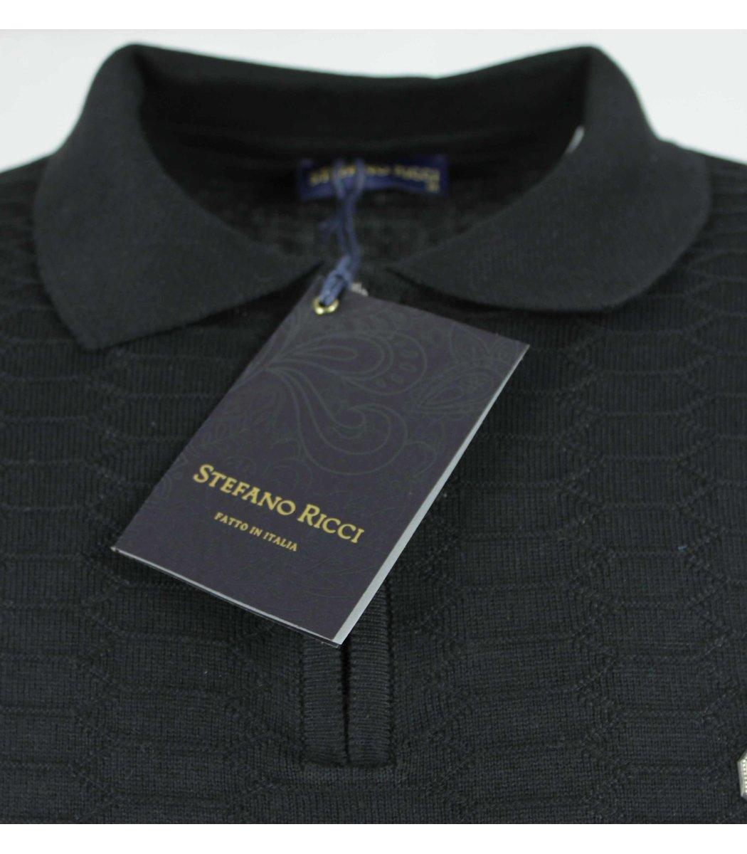 Черное поло с длинным рукавом Stefano Ricci 6660