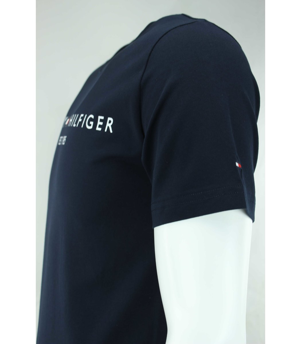 Тёмно-синяя футболка Tommy Hilfiger с принтом FT1