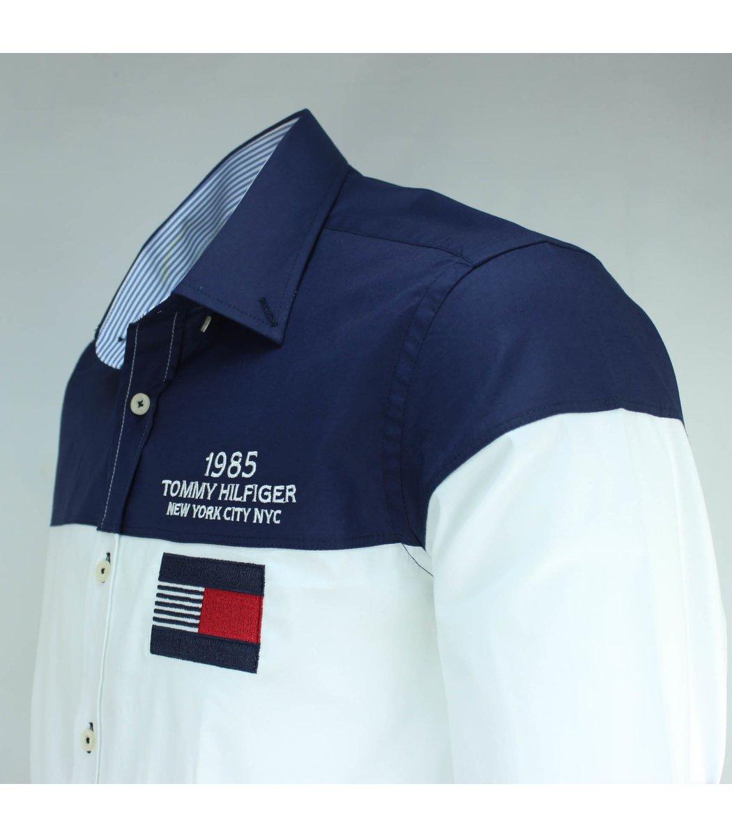 Белая рубашка с темно-синими плечами Tommy Hilfiger RT2 (2841)