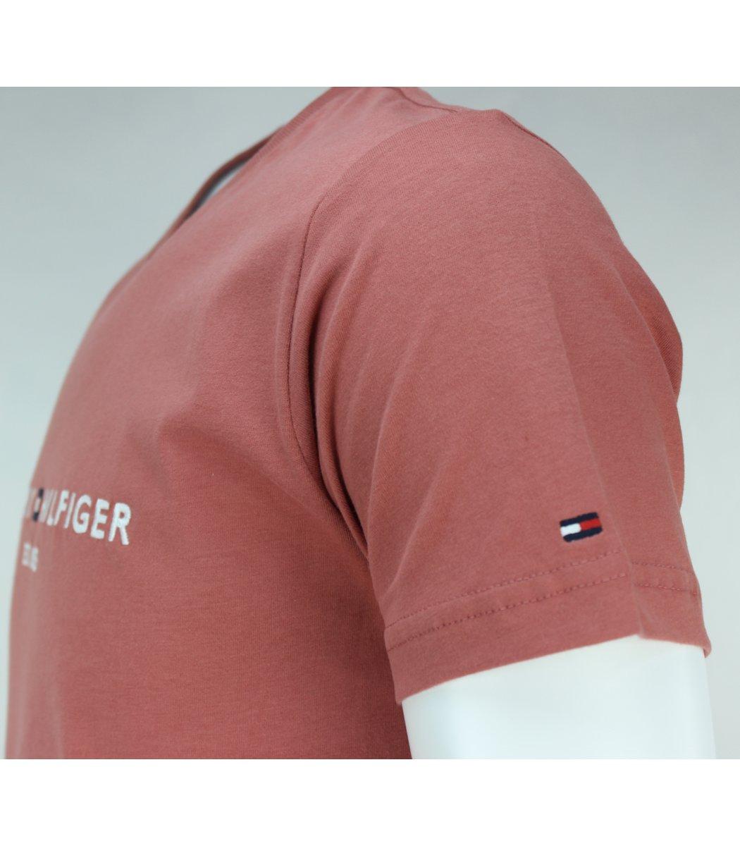 Кирпичная футболка Tommy Hilfiger с вышивкой FT3