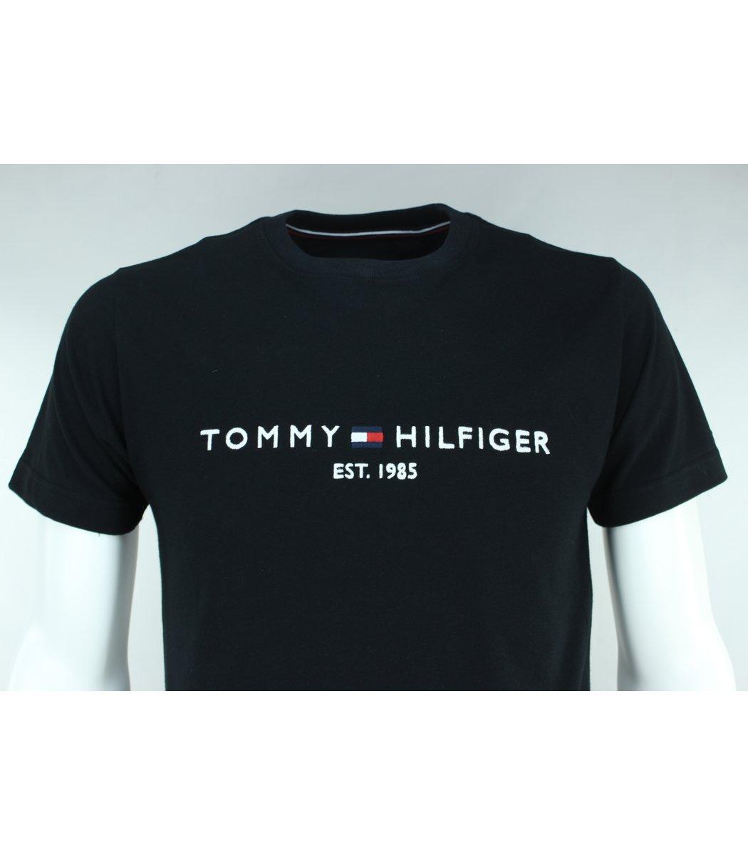 Чёрная футболка Tommy Hilfiger с вышивкой FT3