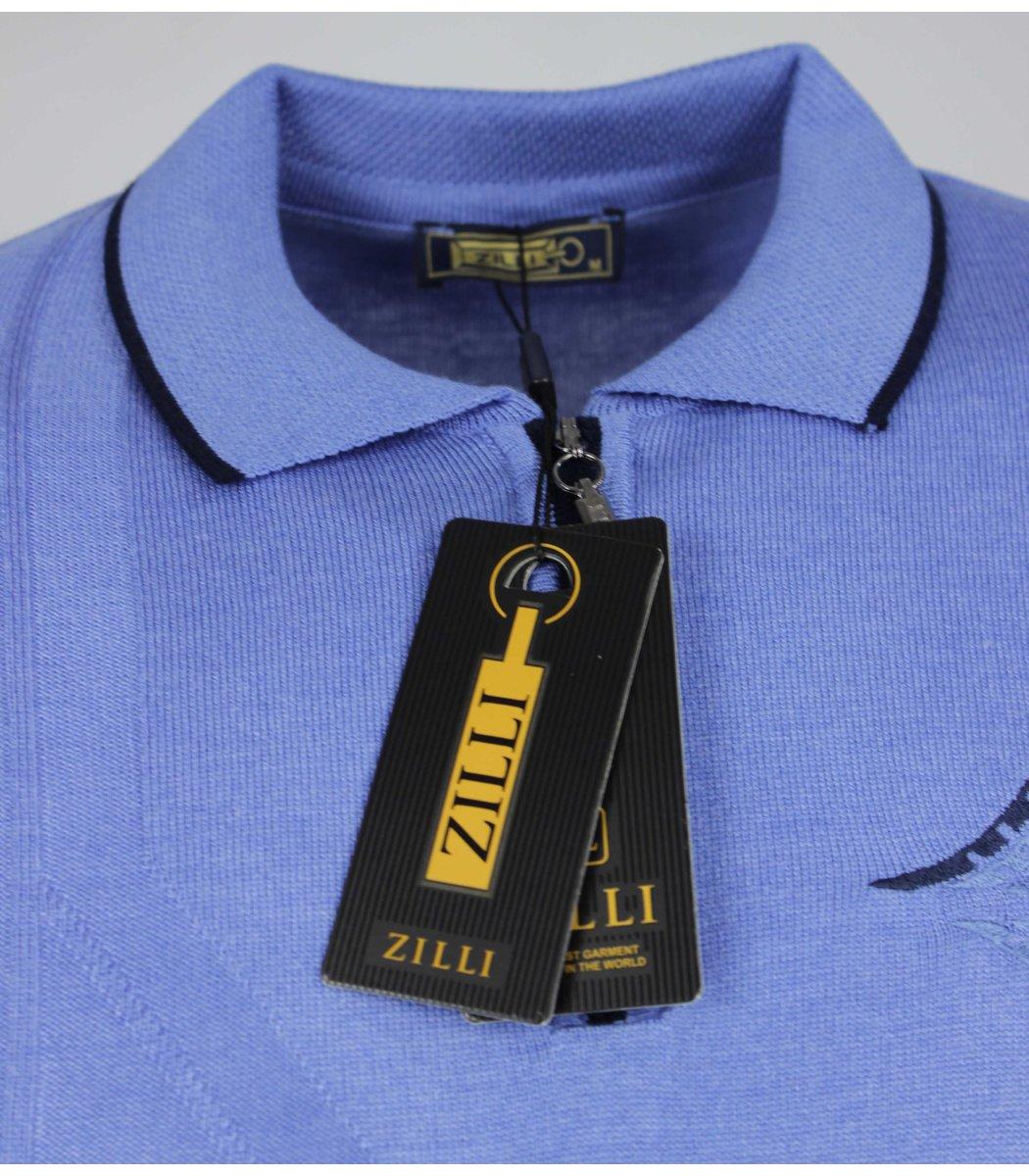 Голубое поло с длинным рукавом ZILLI 7185