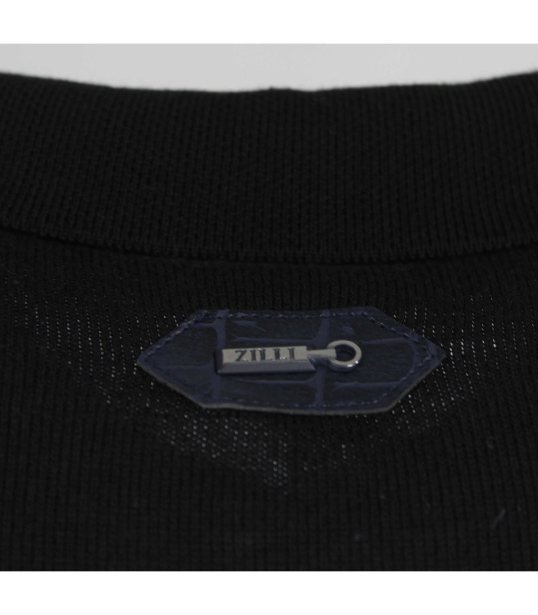 Черное поло с длинным рукавом ZILLI 6700