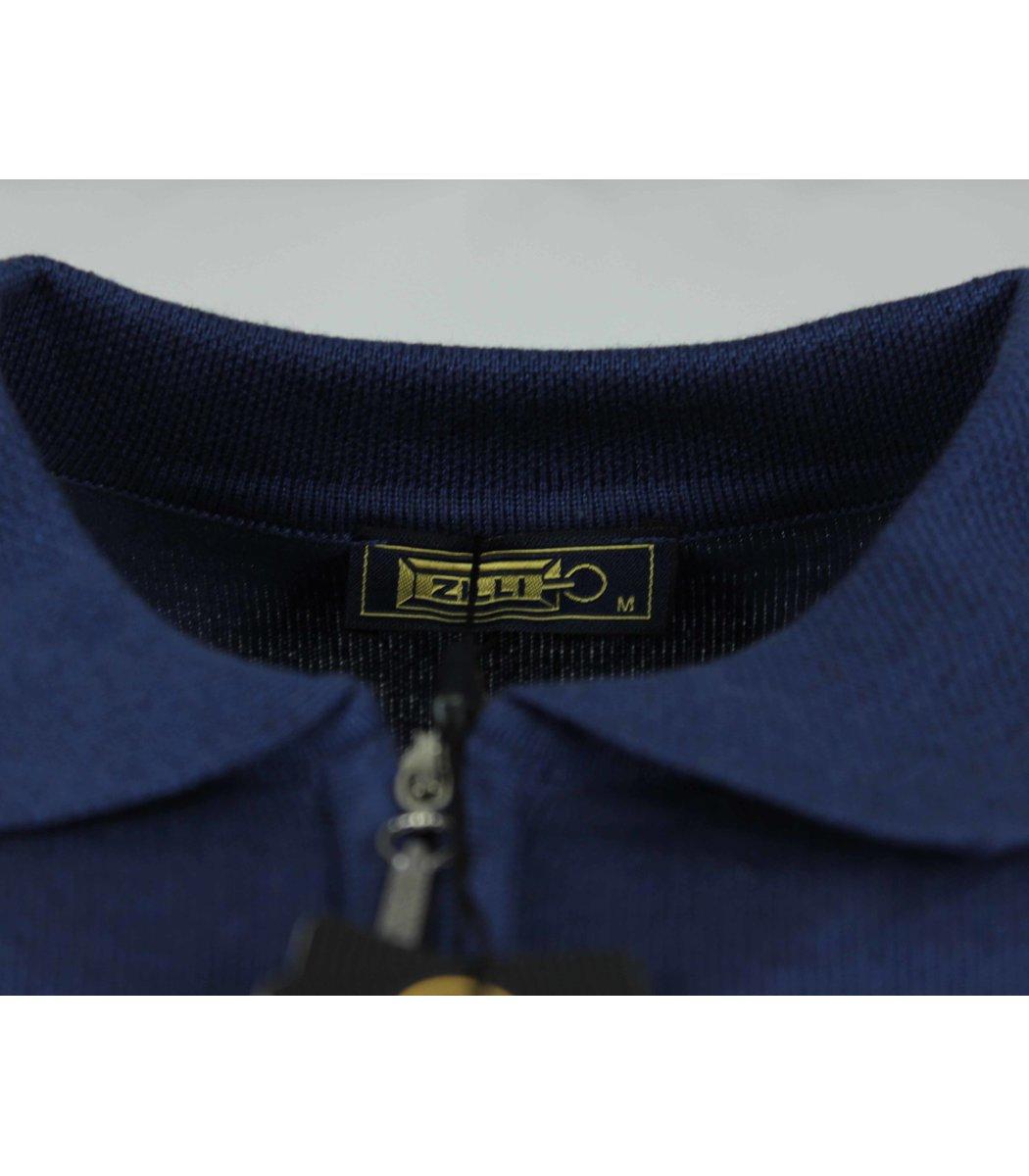Синее поло с длинным рукавом ZILLI 7285