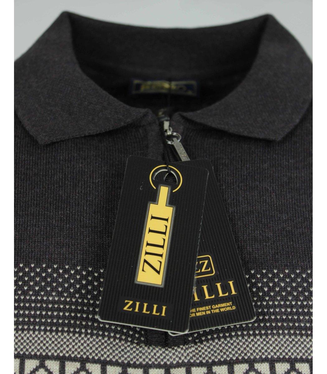 Коричневое поло с длинным рукавом ZILLI 7285