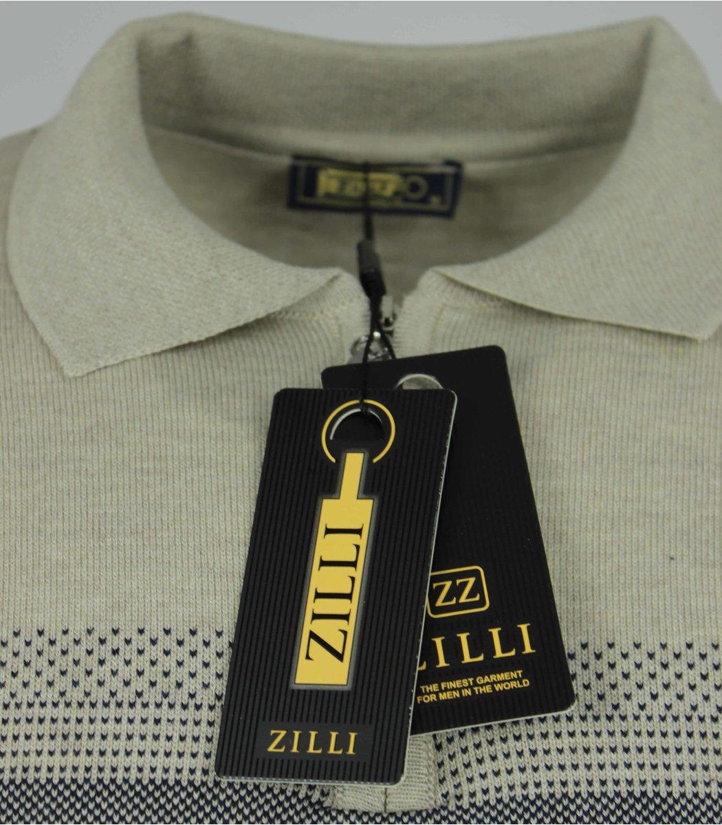 Бежевое поло с длинным рукавом ZILLI 7285