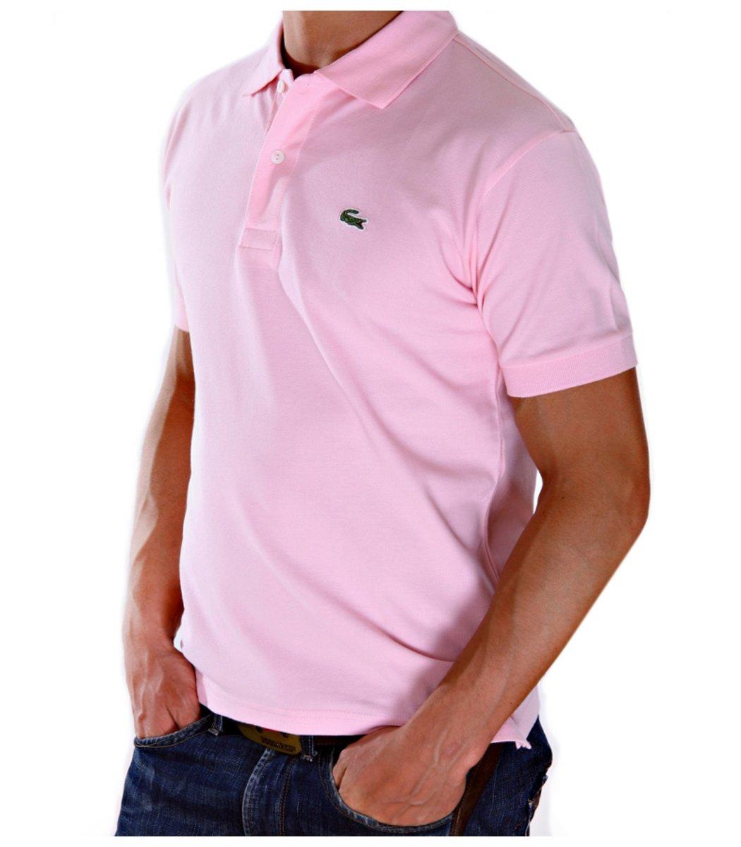Светло-розовая футболка поло Lacoste