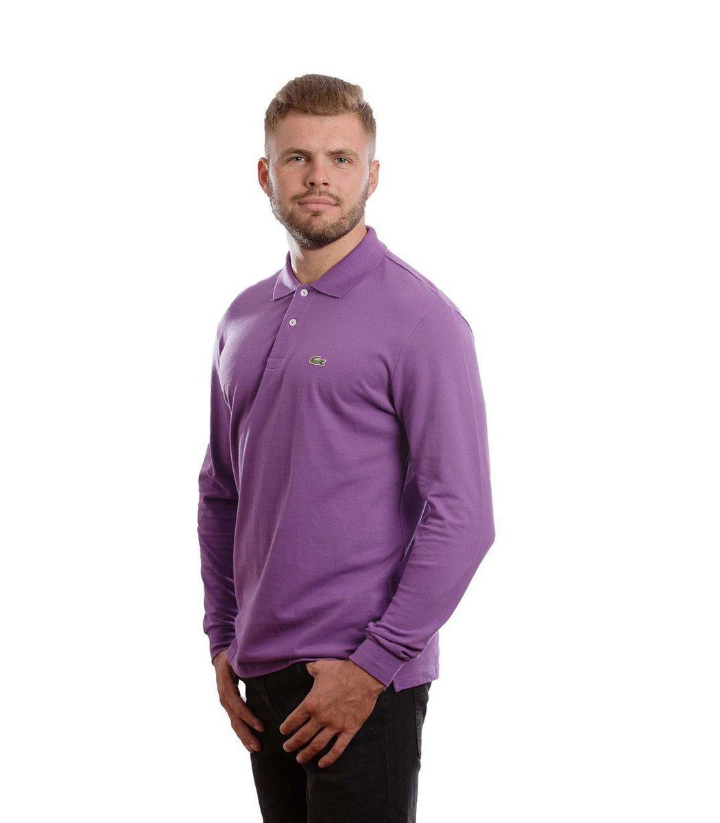 Поло с длинным рукавом Lacoste Classic (Фиолетовый) - Фиолетовый - Вид 4