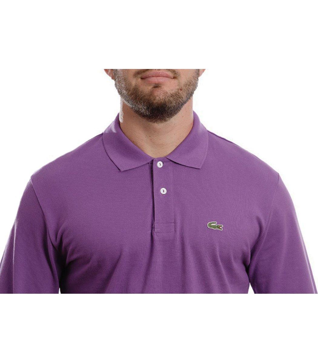 Поло с длинным рукавом Lacoste Classic (Фиолетовый) - Фиолетовый - Вид 5