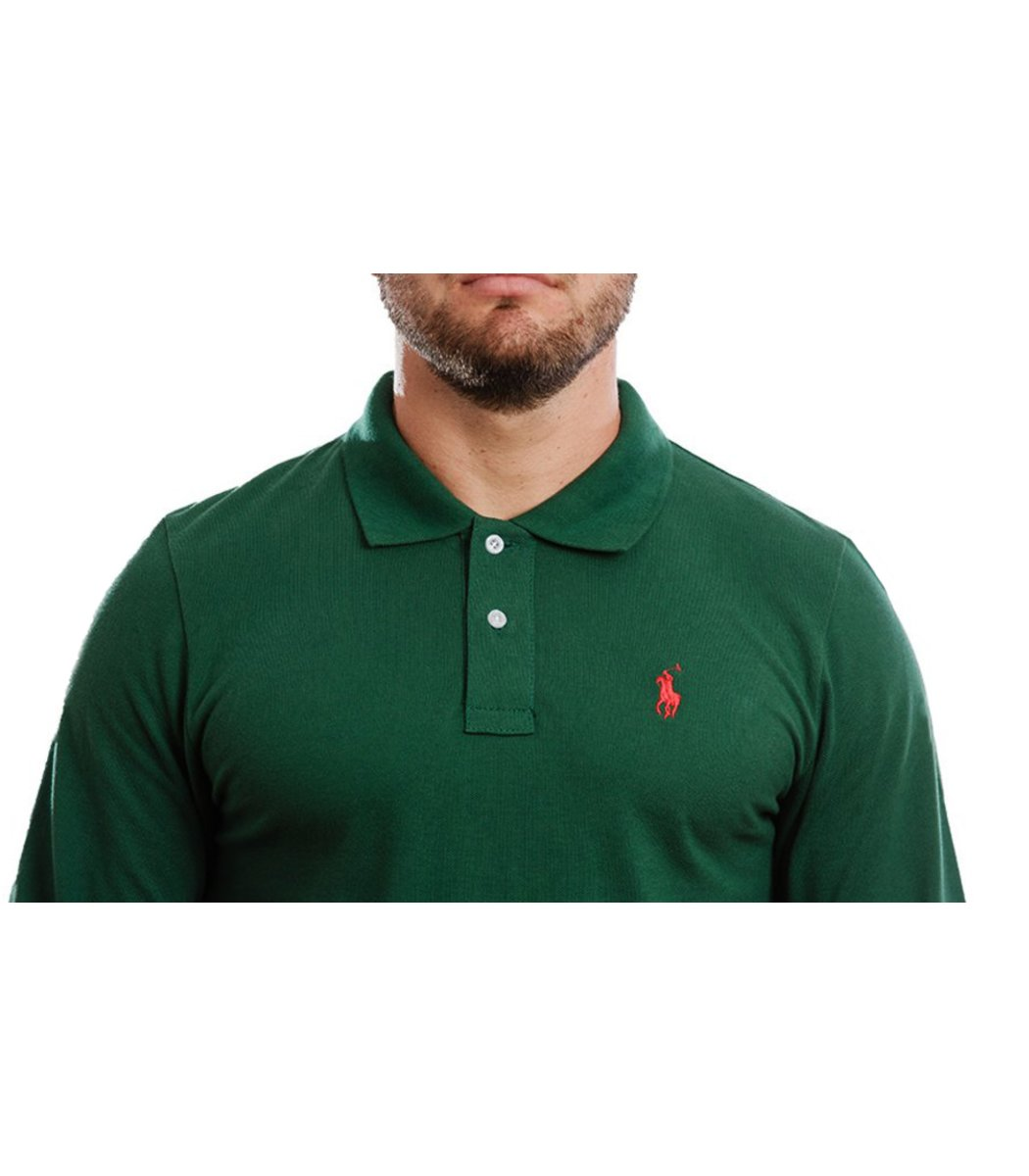 Зеленое поло с длинным рукавом POLO Ralph Lauren PR1  - Зеленый - Вид 5