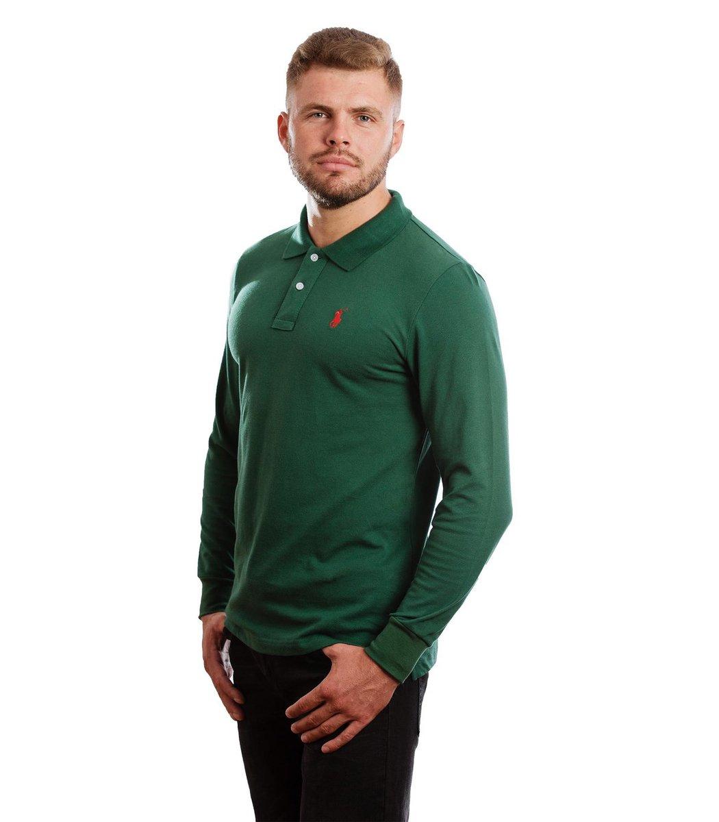 Зеленое поло с длинным рукавом POLO Ralph Lauren PR1  - Зеленый - Вид 4