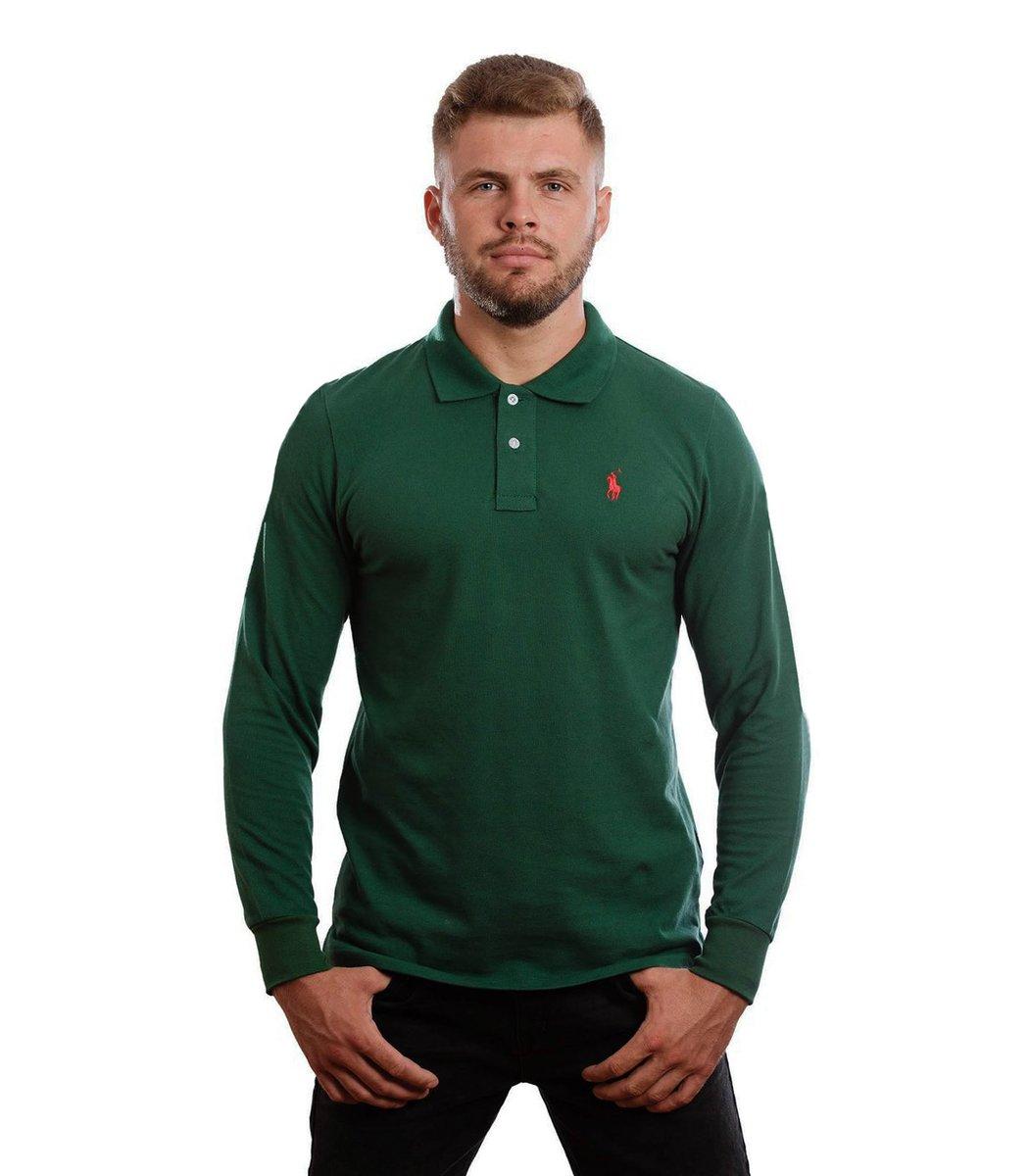 Зеленое поло с длинным рукавом POLO Ralph Lauren PR1  - Зеленый - Вид 2