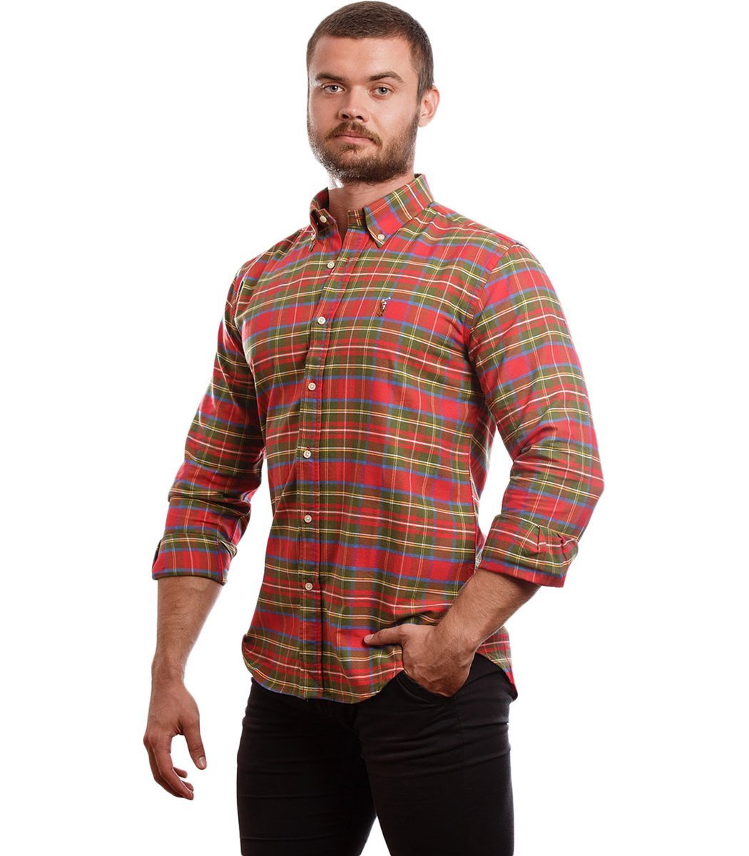 Рубашка POLO Ralph Lauren CELL BBB (Красный/Зеленый/Голубой)