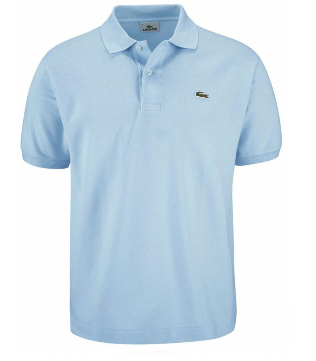 Мужская светло-голубая футболка поло Lacoste