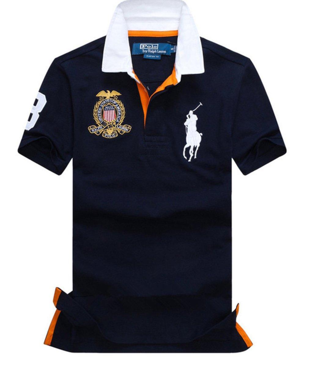 Мужская темно-синяя футболка поло Ralph Lauren R5